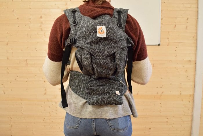 Ergobaby Omni 360 Baby Carrier in back carry mode