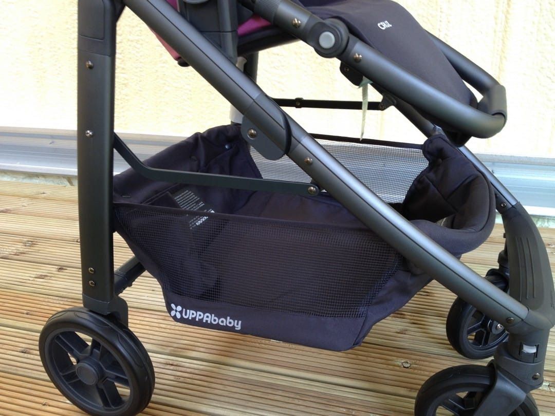 UPPAbaby Cruz 2015 Storage Basket from the side of stroller