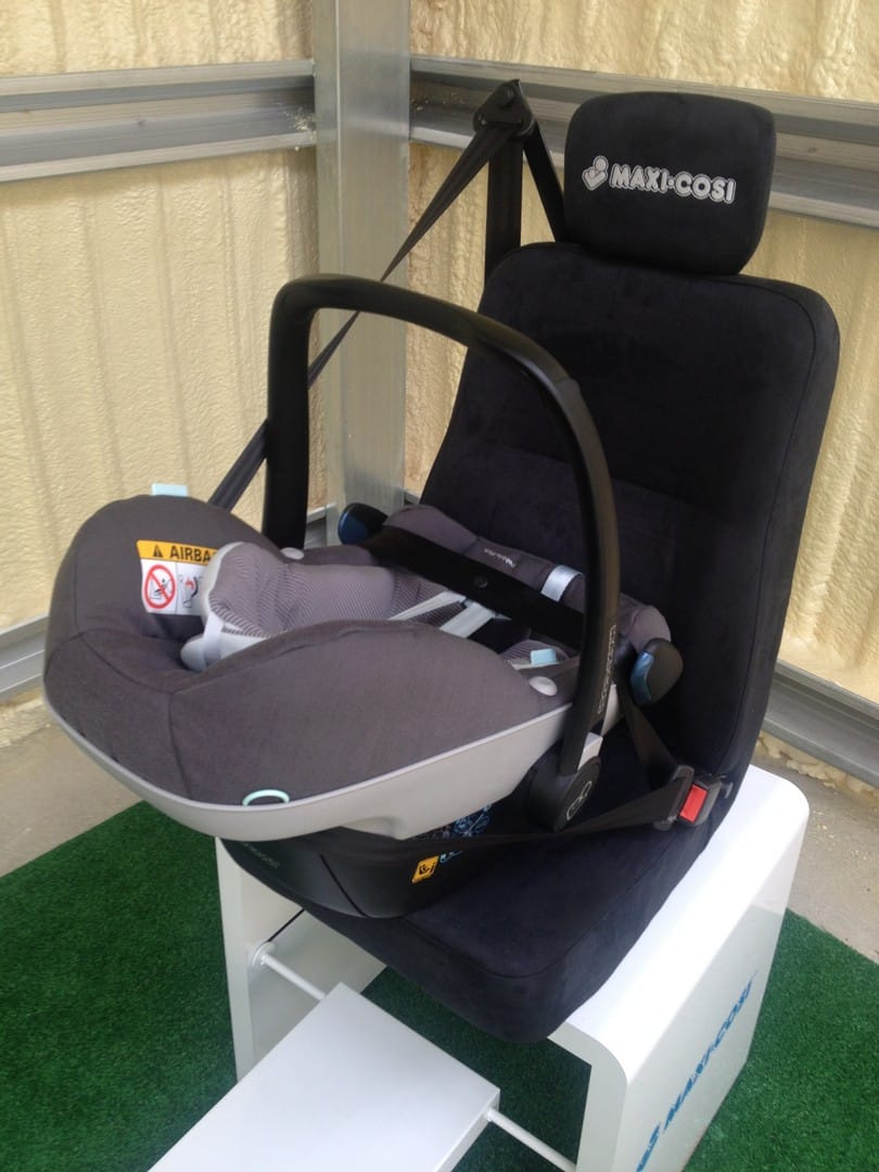 Maxi-Cosi Pebble Plus Car Seat installed using a 3-point car seat belt
