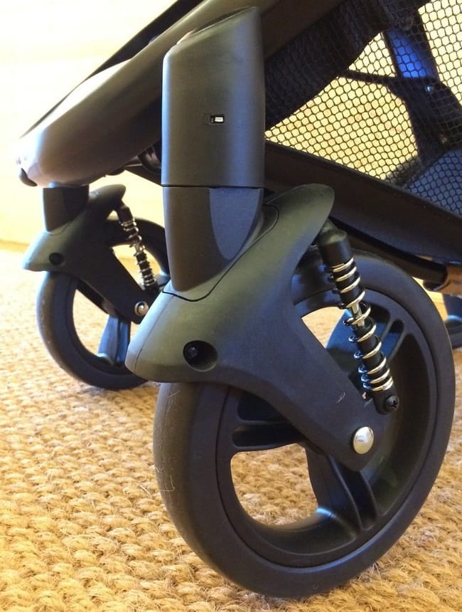 Front wheels of the Mountain Buggy Cosmopolitan Luxury Pushchair and suspension