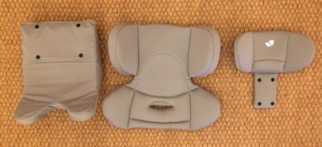 Removable 3-piece infant insert included with the Joie Spin 360 Car Seat
