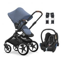 Bugaboo Fox Pushchair Black Chassis - Blue Melange + Maxi Cosi CabrioFix Travel System