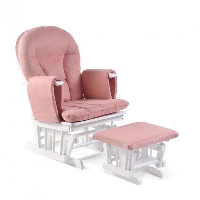 Alford Glider Chair and Stool - Blush Pink