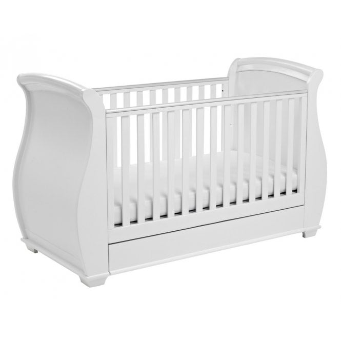 Bel Sleigh Drop Side Cot Bed - White