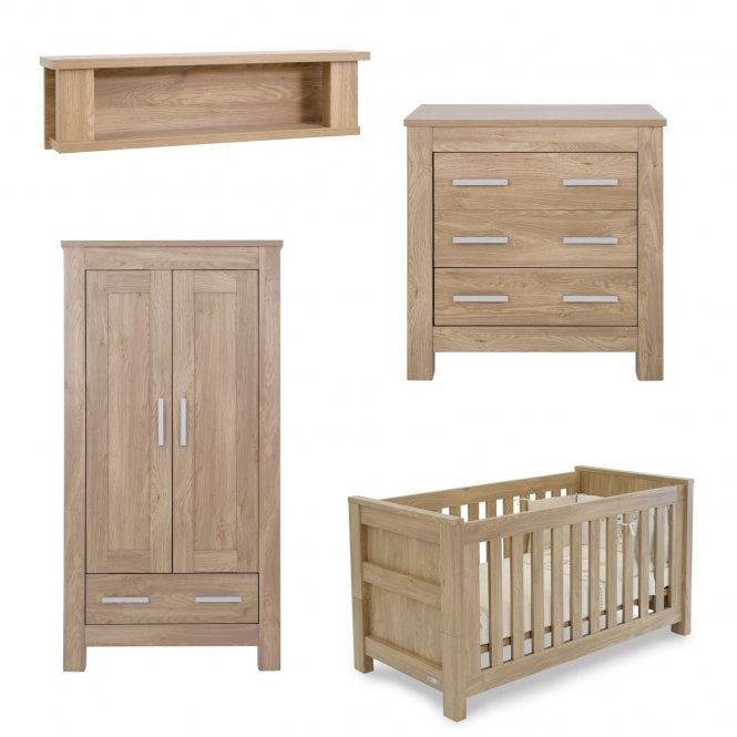 Bordeaux Oak 4 Piece Furniture Set + FREE Cot Bed Mattress