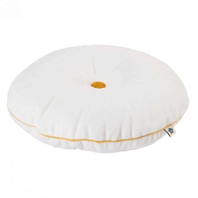 Button Cushion - White & Mustard
