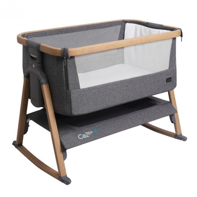 CoZee Air Bedside Crib - Charcoal / Oak