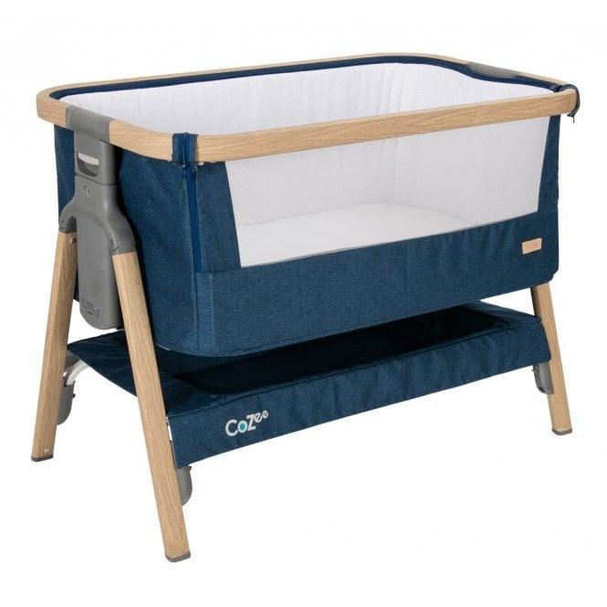 CoZee Bedside Crib - Oak / Midnight Blue