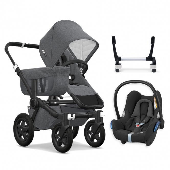 Donkey 2 Mono Classic Collection Pushchair Black Chassis - Grey Melange + FREE Maxi Cosi CabrioFix