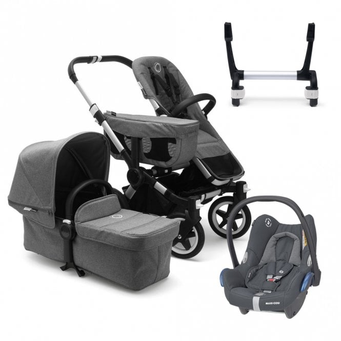 Donkey 2 Mono Pushchair Aluminium Chassis - Grey Melange + Maxi Cosi CabrioFix Travel System (Discontinued 01 June 2020)