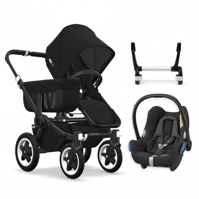 Donkey 2 Mono Pushchair Black Chassis - Black + Maxi Cosi CabrioFix Travel System