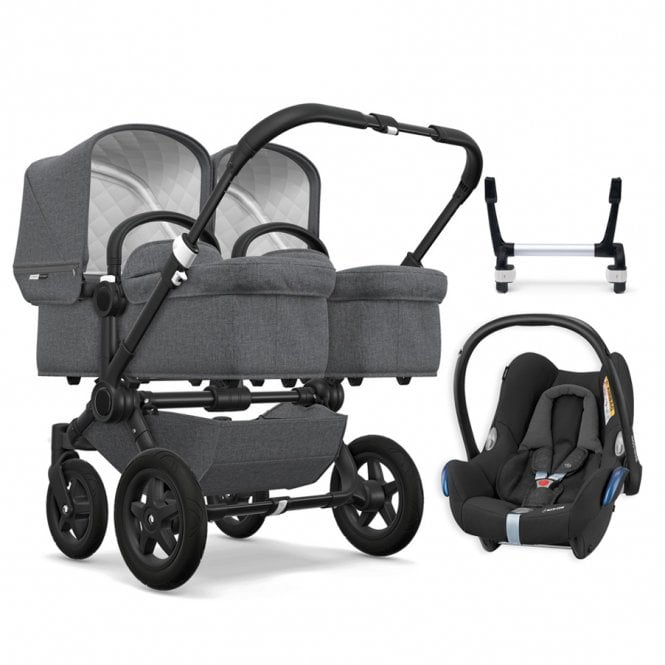 Donkey 2 Twin Classic Collection Pushchair Black Chassis - Grey Melange + FREE Maxi Cosi CabrioFix