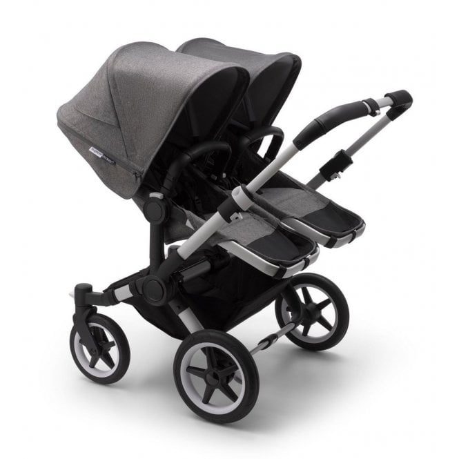 Donkey 3 Twin Pushchair - Aluminium / Grey Melange