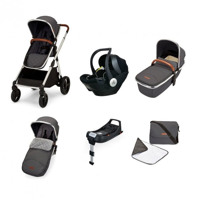 Eclipse i-Size All In One Travel System + Mercury Car Seat + ISOfix Base - Graphite Grey On Chrome