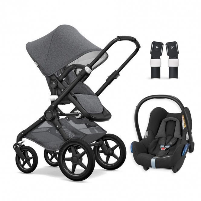 Fox Classic Collection Pushchair Black Chassis - Grey Melange + FREE Maxi Cosi CabrioFix