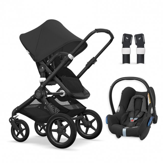 Fox Pushchair Black Chassis - Black + FREE Maxi Cosi CabrioFix