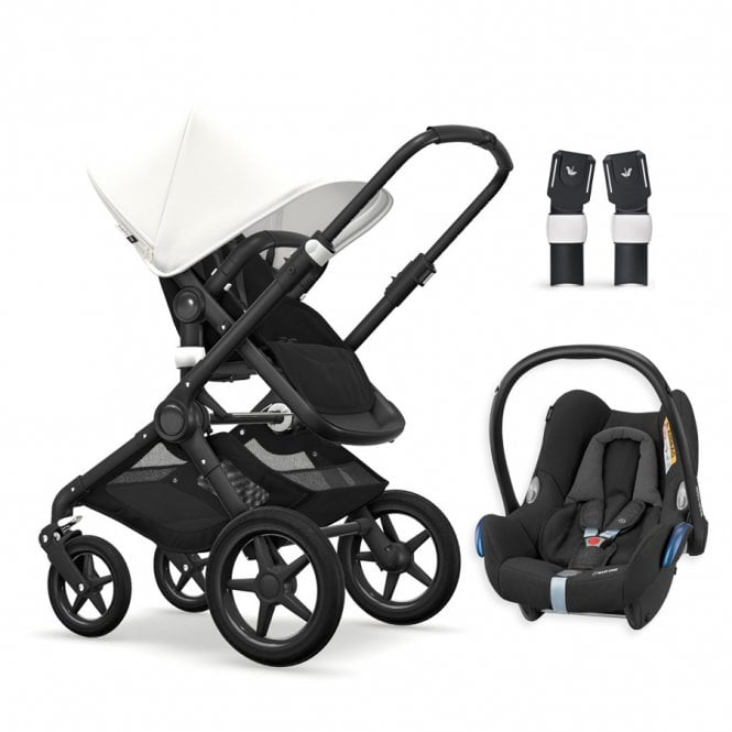 Fox Pushchair Black Chassis - Black / Fresh White + Maxi Cosi CabrioFix Travel System