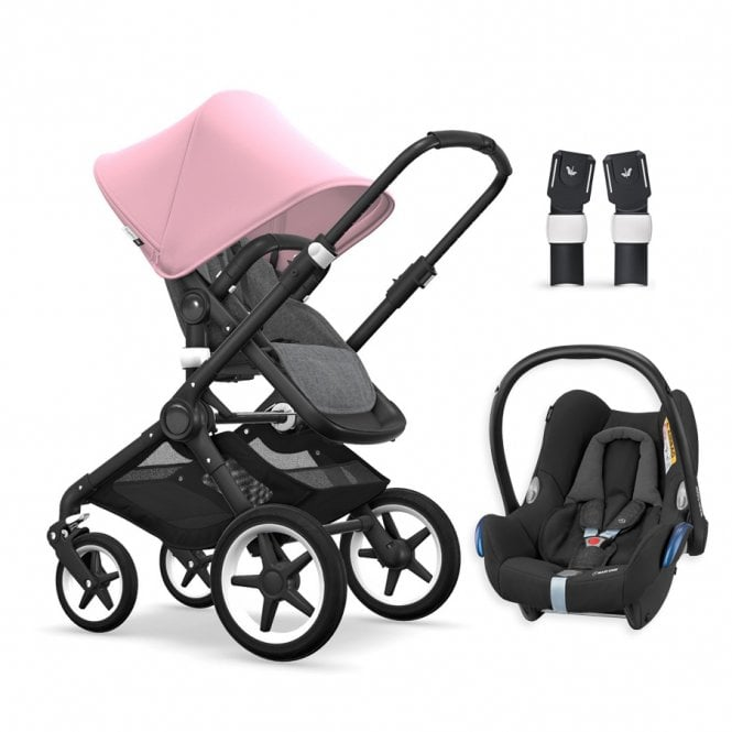 Fox Pushchair Black Chassis - Grey Melange / Soft Pink + FREE Maxi Cosi CabrioFix