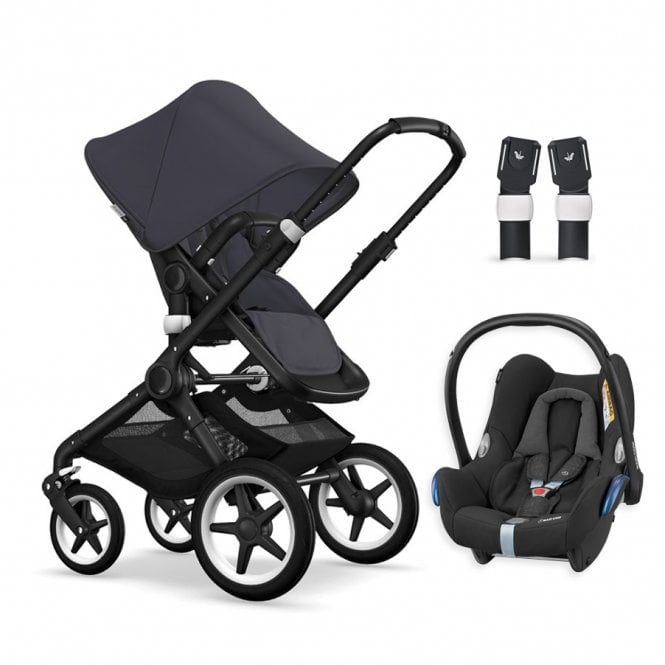 Fox Pushchair Black Chassis - Steel Blue + FREE Maxi Cosi CabrioFix