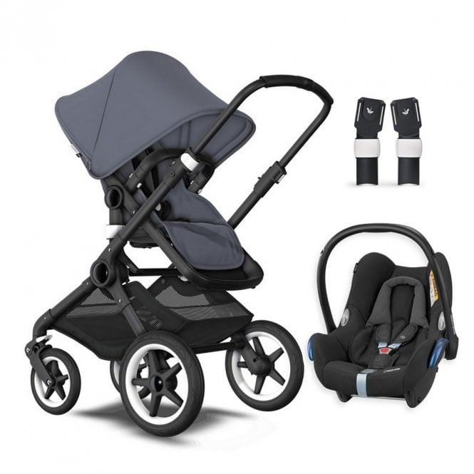 Fox Pushchair Black Chassis - Steel Blue + Maxi Cosi CabrioFix Travel System
