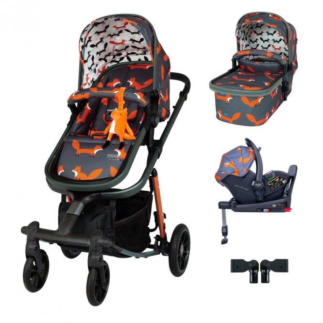 Giggle Quad Travel System i-Size Bundle - Charcoal Mister Fox
