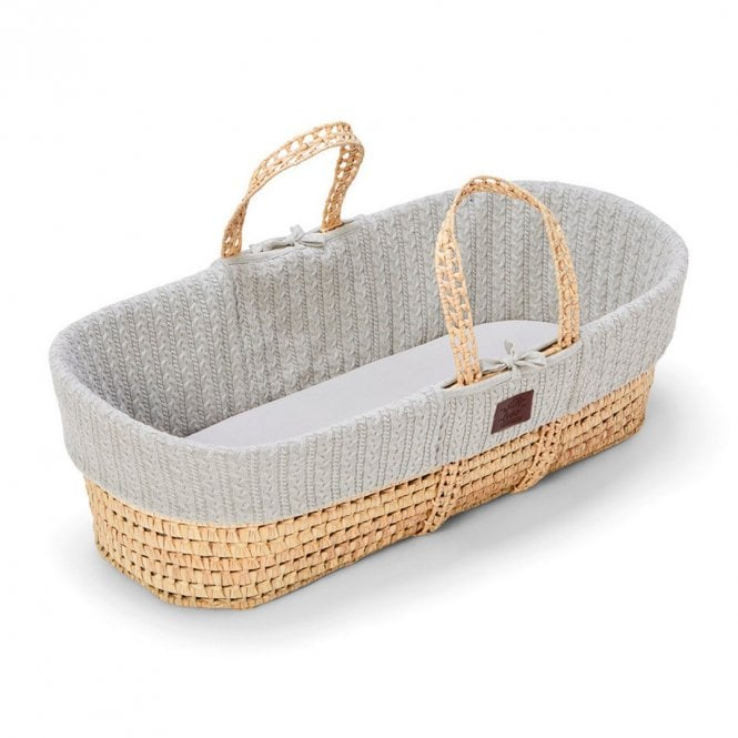 Knitted Moses Basket + Mattress - Dove