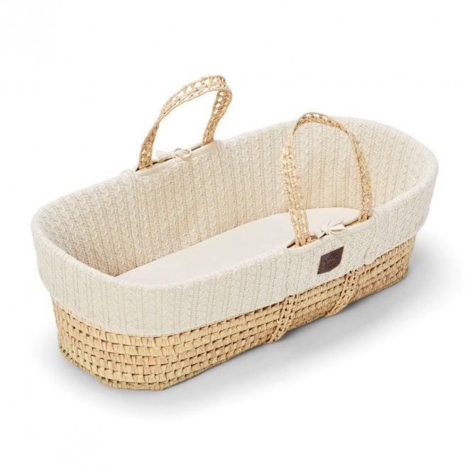 Knitted Moses Basket + Mattress - Linen
