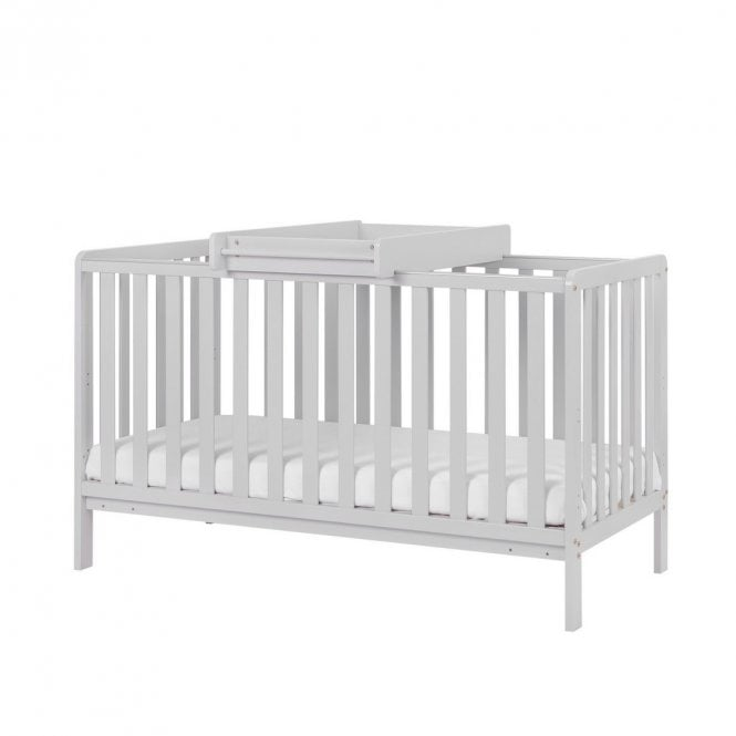 Malmo Cot Bed With Top Changer & Mattress - Dove Grey