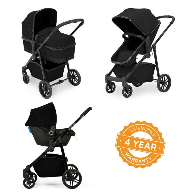 Moon 3 In 1 Travel System + Astral Car Seat - Black On Black