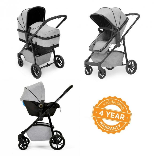 Moon 3 In 1 Travel System + Astral Car Seat - Silver Grey On Black