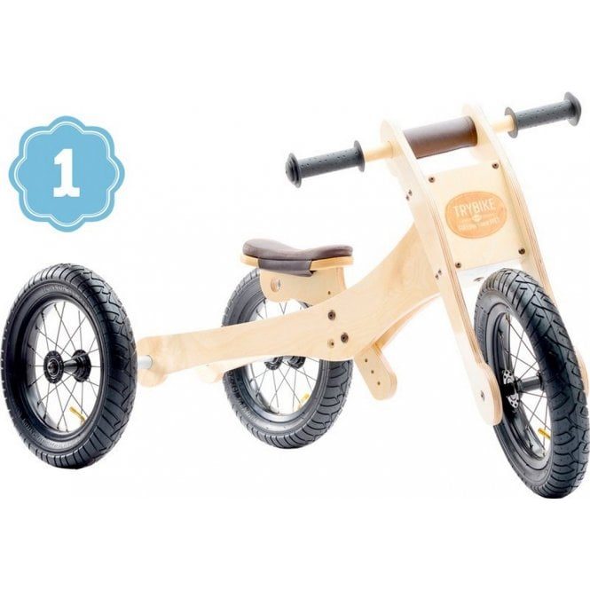 Natural Wood 4 in 1 Balance Bike