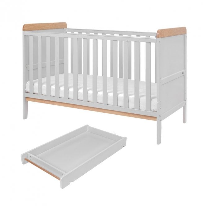 Rio Cot Bed With Top Changer & Mattress - Dove Grey / Oak