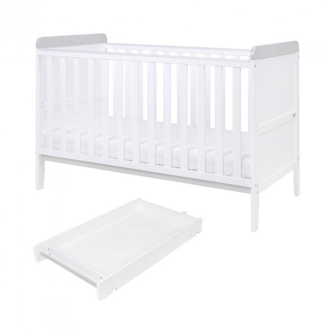 Rio Cot Bed With Top Changer & Mattress - White / Dove Grey