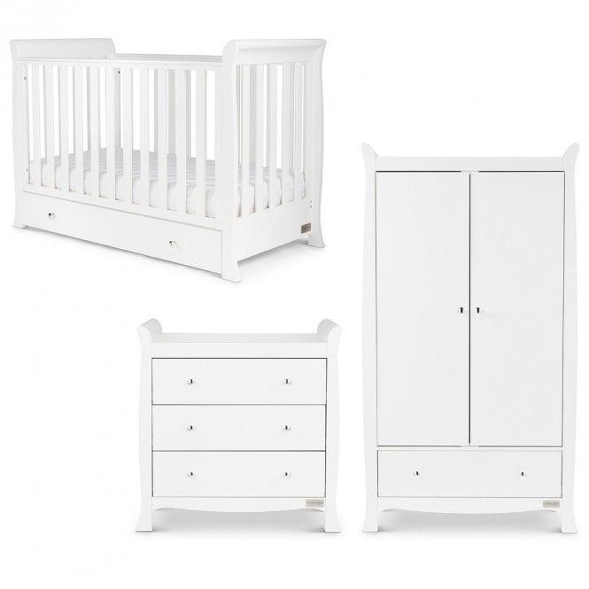 Snowdon 4 in 1 Mini 3 Piece Furniture Set and Fibre Mattress - White