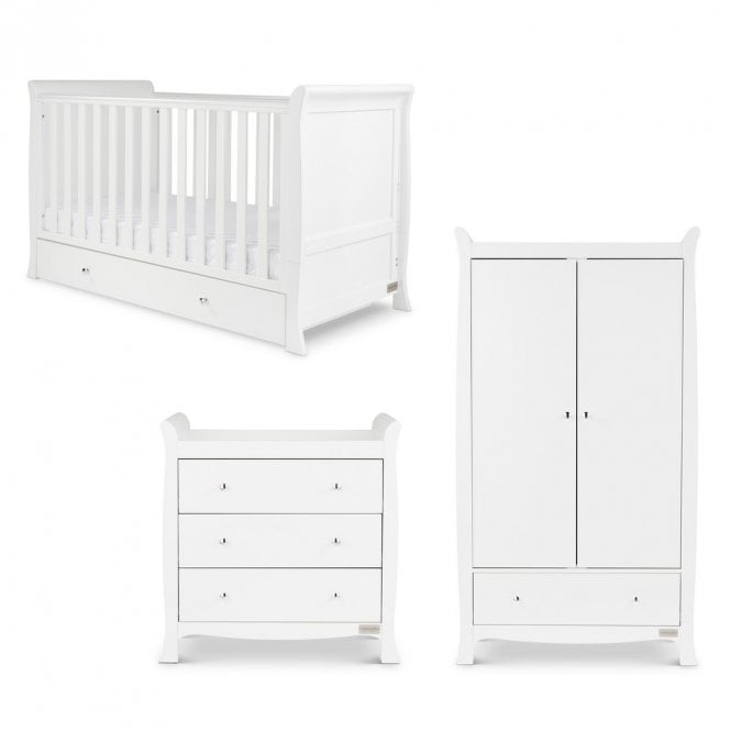 Snowdon Classic 3 Piece Furniture Set and Fibre Mattress - White