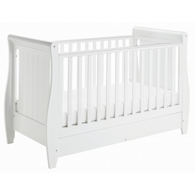 Stella Sleigh Drop Side Cot Bed - White