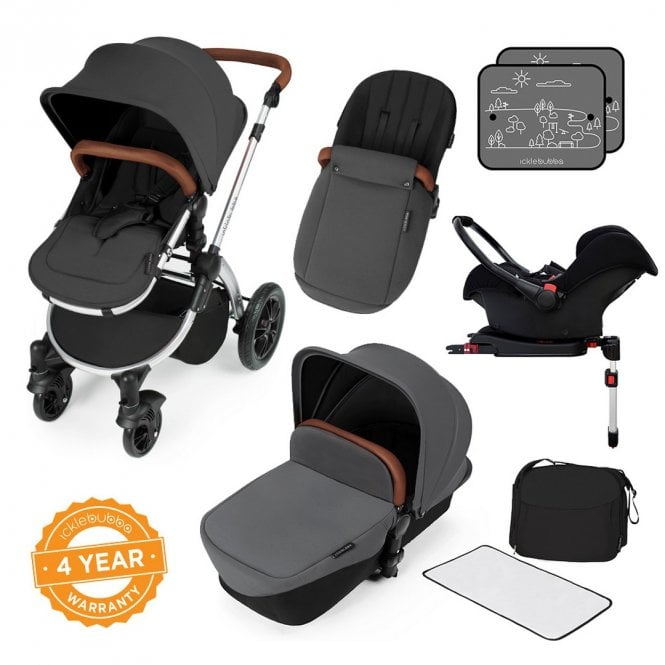 Stomp V3 Travel System With Galaxy Car Seat + ISOfix Base - Graphite Grey On Silver