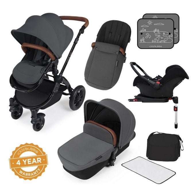 Stomp V3 Travel System With Galaxy Car Seat + ISOfix Base - Graphite On Black
