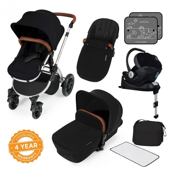 Stomp V3 Travel System With Mercury i-Size Car Seat + ISOfix Base - Black On Silver