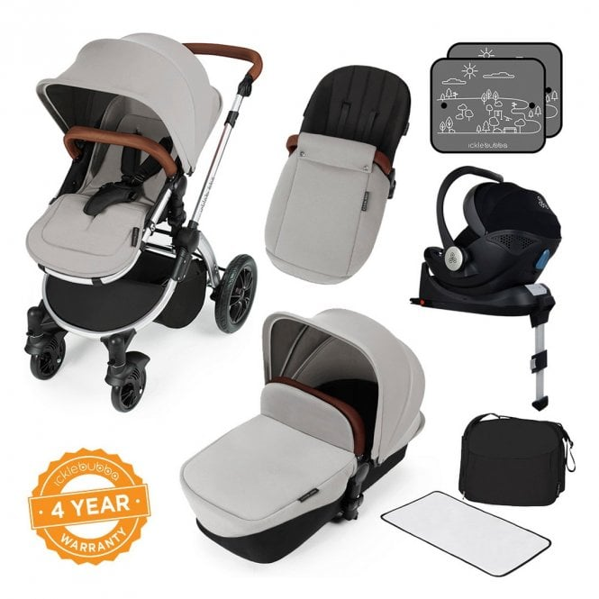 Stomp V3 Travel System With Mercury i-Size Car Seat + ISOfix Base - Silver On Silver