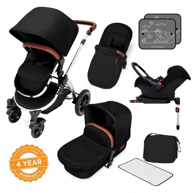 Stomp V4 Chrome Travel System With Galaxy Car Seat + Base - Midnight