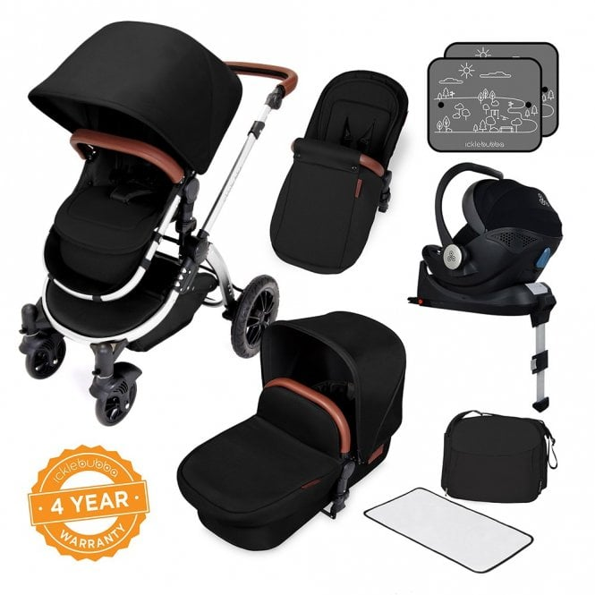 Stomp V4 Chrome Travel System With Mercury Car Seat + Base - Midnight