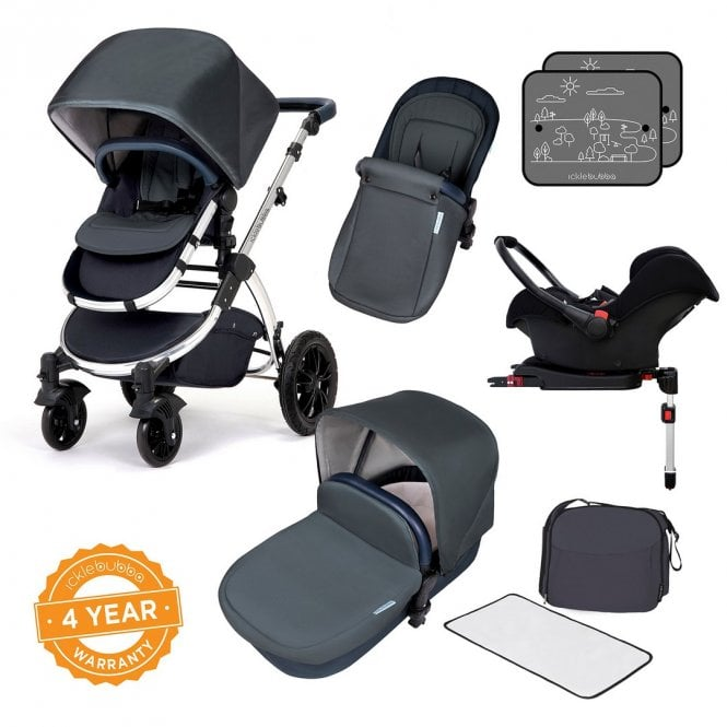 Stomp V4 Travel System With Galaxy Car Seat + ISOfix Base - Blueberry On Chrome