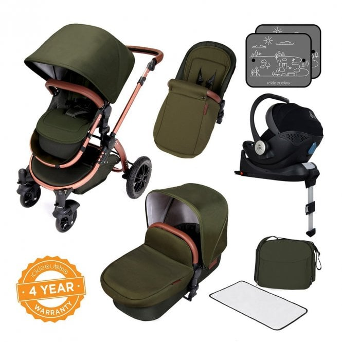 Stomp V4 Travel System With Mercury i-Size Car Seat + ISOfix Base - Woodland On Bronze