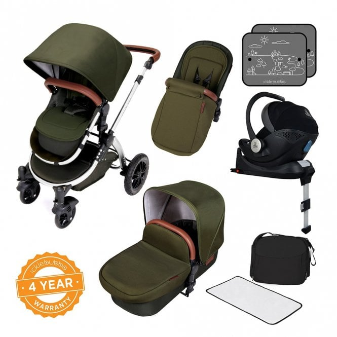 Stomp V4 Travel System With Mercury i-Size Car Seat + ISOfix Base - Woodland On Chrome