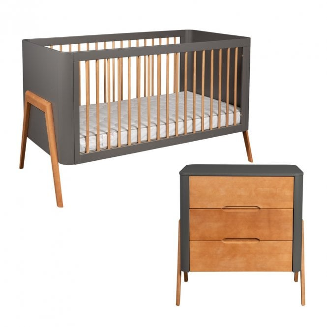 Torsten 2 Piece Furniture Set - Grey / Teak