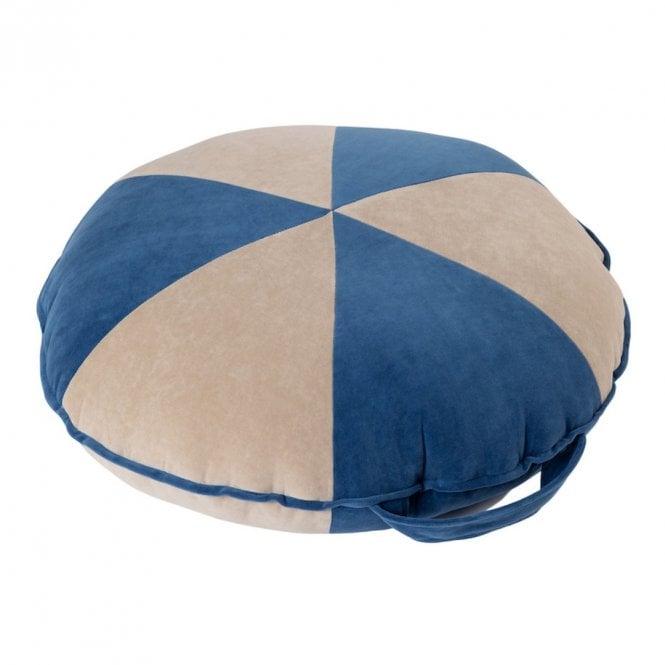 Velvet Cookie Beanbag - Large - Deep Blue / Beige