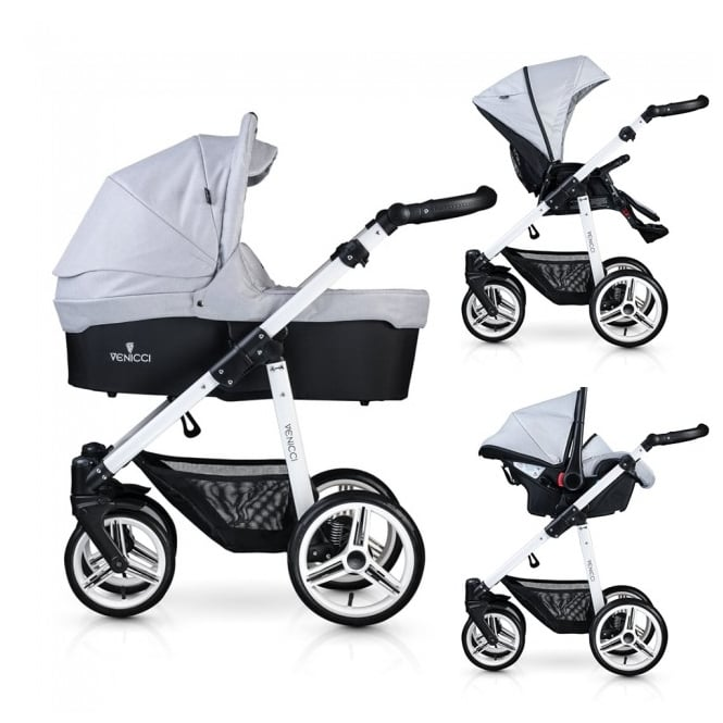 Venicci Soft 3 in 1 Pushchair White Chassis