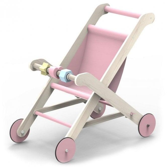 Wooden Dolls Stroller - Pink