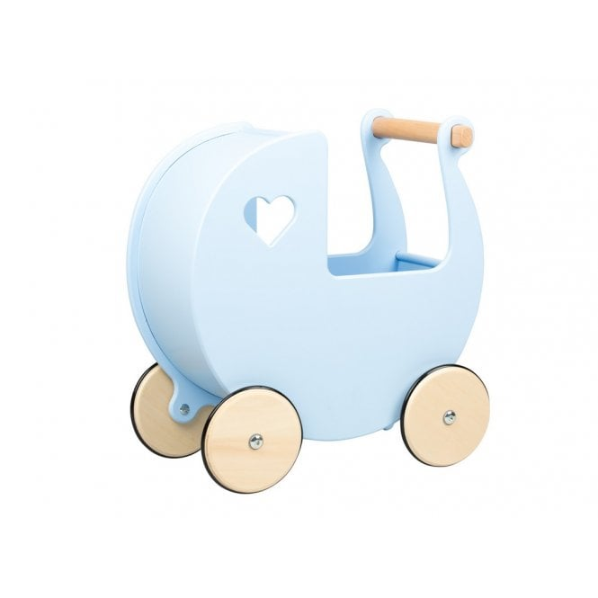 Wooden Pram - Light Blue